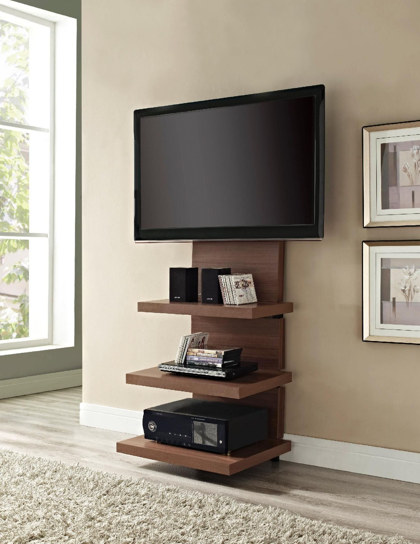 Modern Wall Mount Tv Stands In Fashionable 18 Chic And Modern Tv Wall Mount Ideas For Living Room (View 3 of 20)