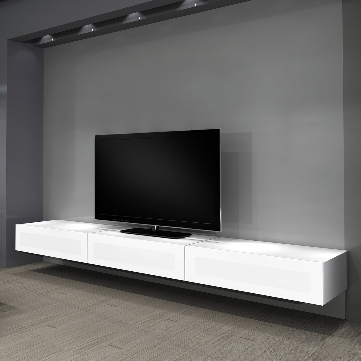 Modern Wall Mount Tv Stands With Recent Furniture: Modern Design Living Room With Ikea Wall Mounted Tv (View 9 of 20)