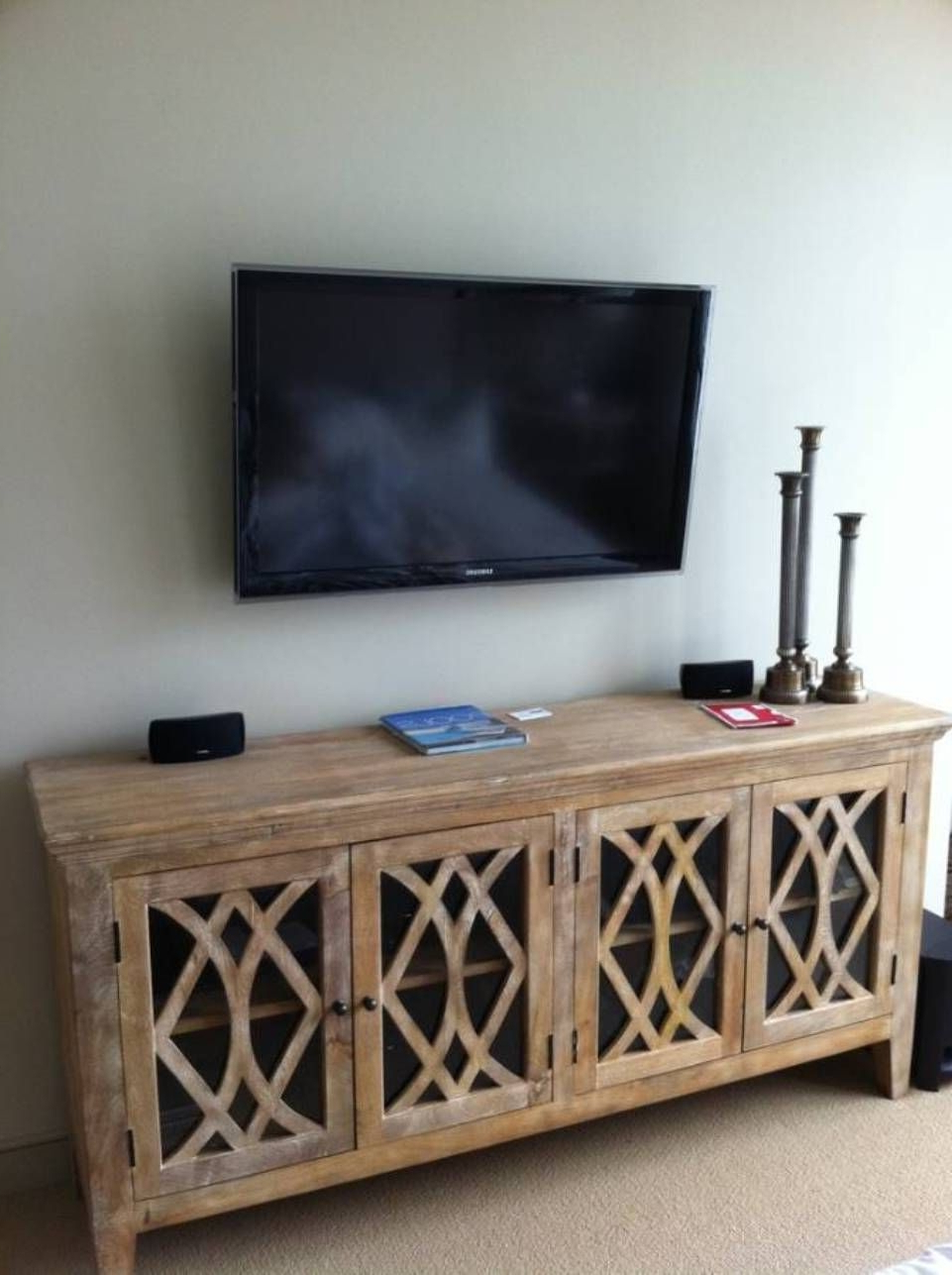 Modern Wall Mount Tv Stands With Regard To Preferred Wall Mounted Tv Over Sideboard Modern Wall Mounted Tv Gallery With (View 12 of 20)