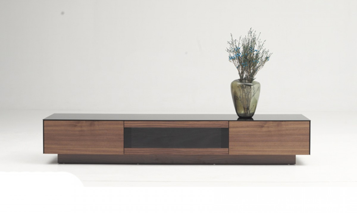 Modern Walnut Tv Stands Pertaining To Well Known Modrest Darius Modern Walnut Tv Stand – Entertainment Centers (View 8 of 20)