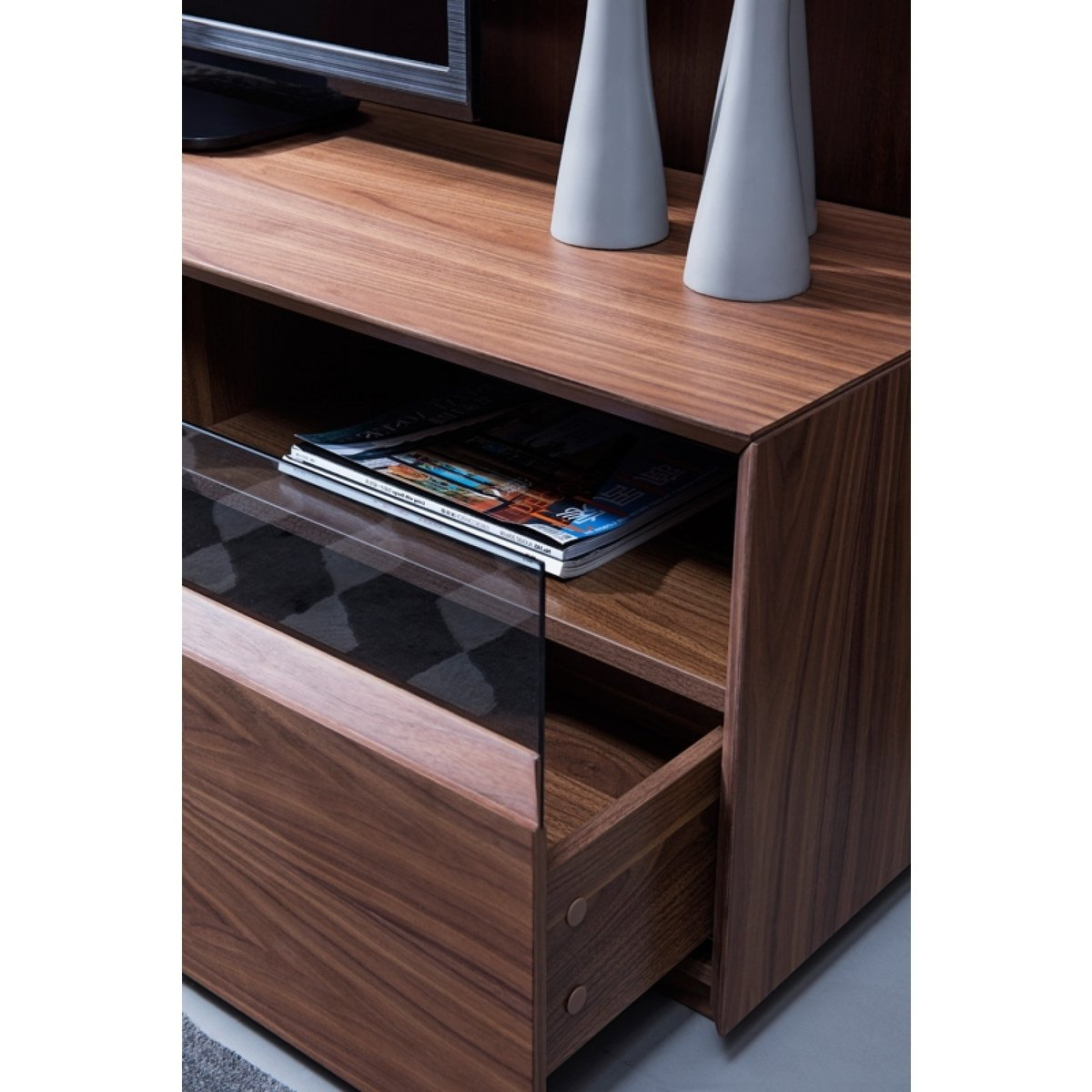 Modern Walnut Tv Stands With Latest Shop Modrest Terrance Modern Walnut Tv Stand – Free Shipping Today (View 11 of 20)