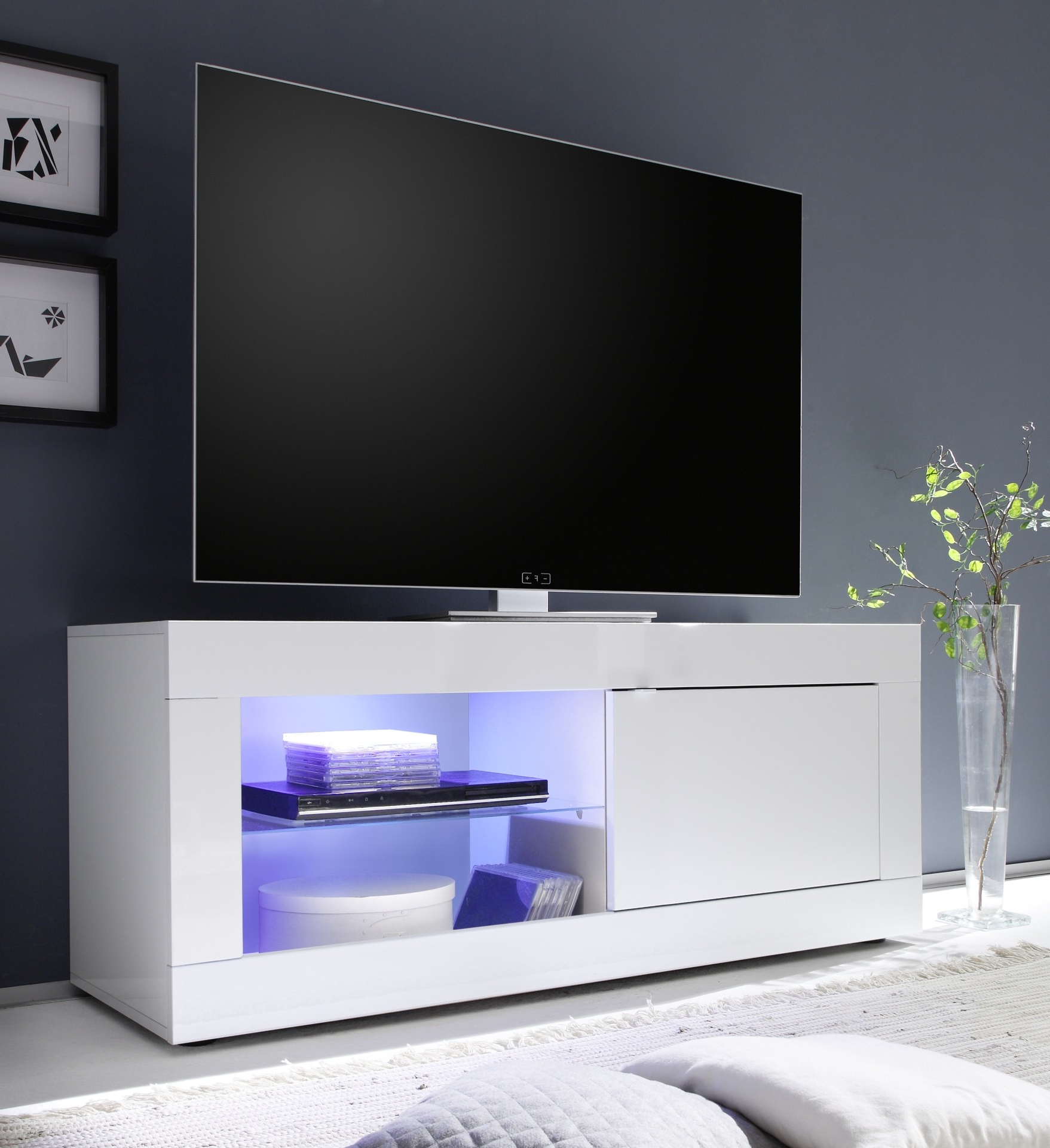 Modern White Gloss Tv Stands Intended For Recent Avanti Ii Gloss Tv Stand With Rgb Lights – Tv Stands (533) – Sena (View 12 of 20)