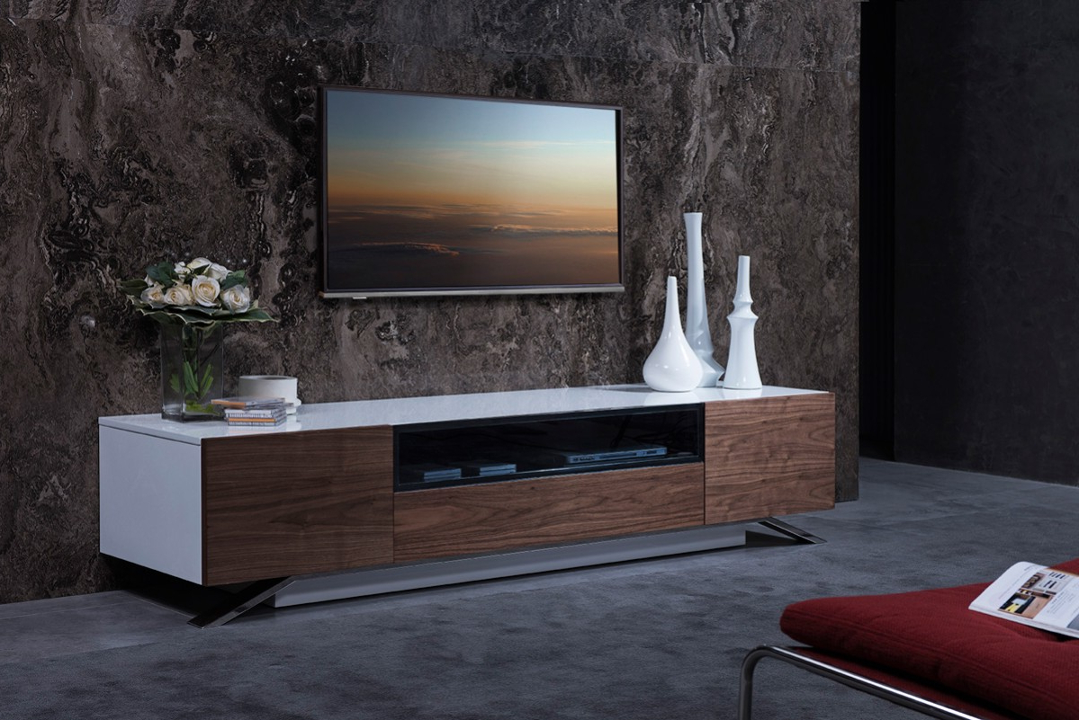 Modern White Gloss Tv Stands Within Recent Walnut And White Gloss Tv Stand Base For Lcd Los Angeles California (View 14 of 20)