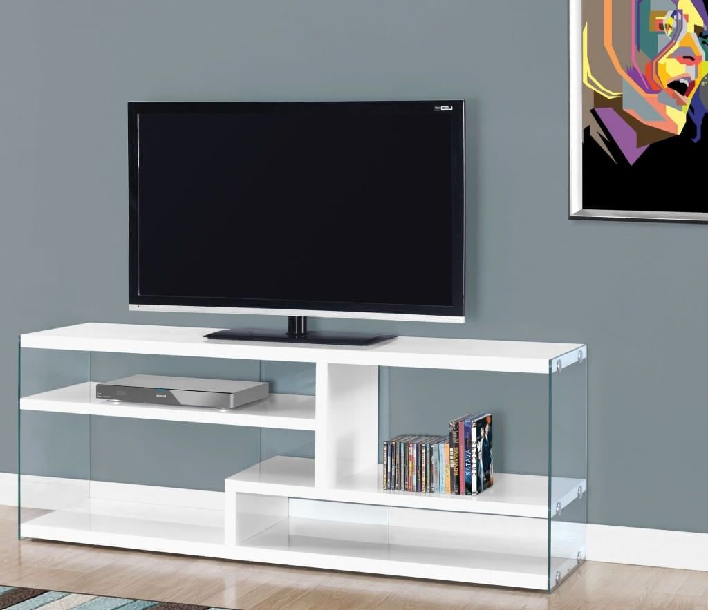 Modern White Tv Stands Inside Most Current Furniture: Modern White Tv Stand Featuring Side Glass Board Attached (View 6 of 20)