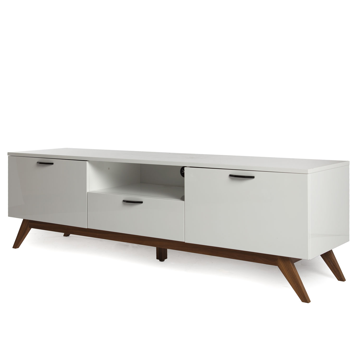 Modern White Tv Stands Throughout Well Liked White & Walnut Tv Stand (View 8 of 20)