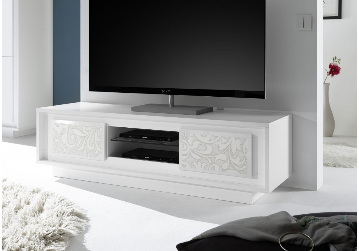 Modern White Tv Stands With Regard To Most Recent Modern White Tv Stand With Flower Design Coral Gables Fl Vv Sky (View 9 of 20)