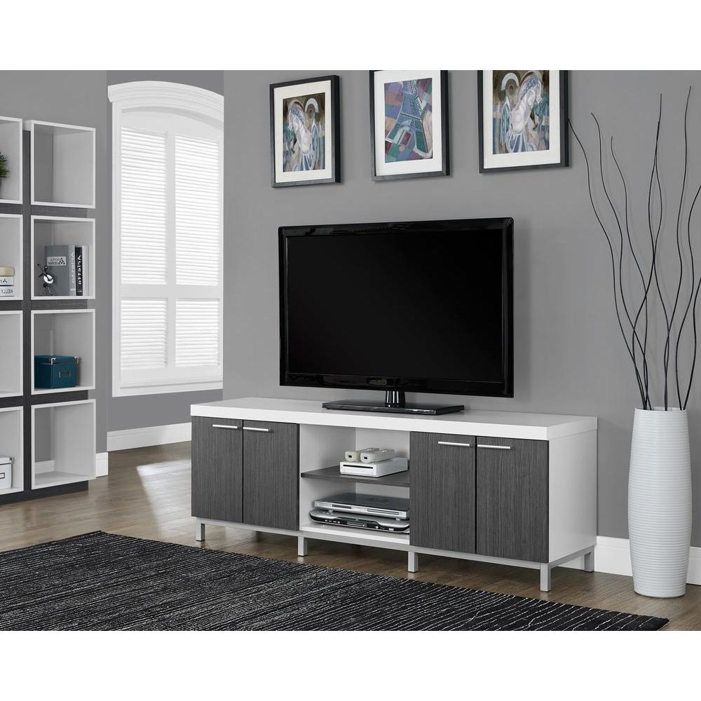 Modern White Tv Stands Within Most Recently Released Monarch Specialties Hollow Core White And Grey Storage Entertainment (View 10 of 20)