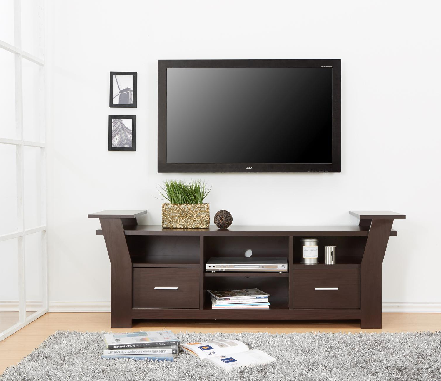 Modern Wooden Tv Stand With Storage Two Drawers And Four Shelves In For Latest Tv Stands With Drawers And Shelves (View 4 of 20)