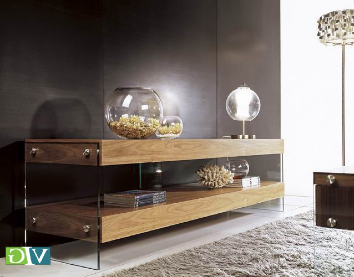 Modrest Aura Modern Walnut Floating Tv Stand Throughout Popular Floating Glass Tv Stands (View 11 of 20)
