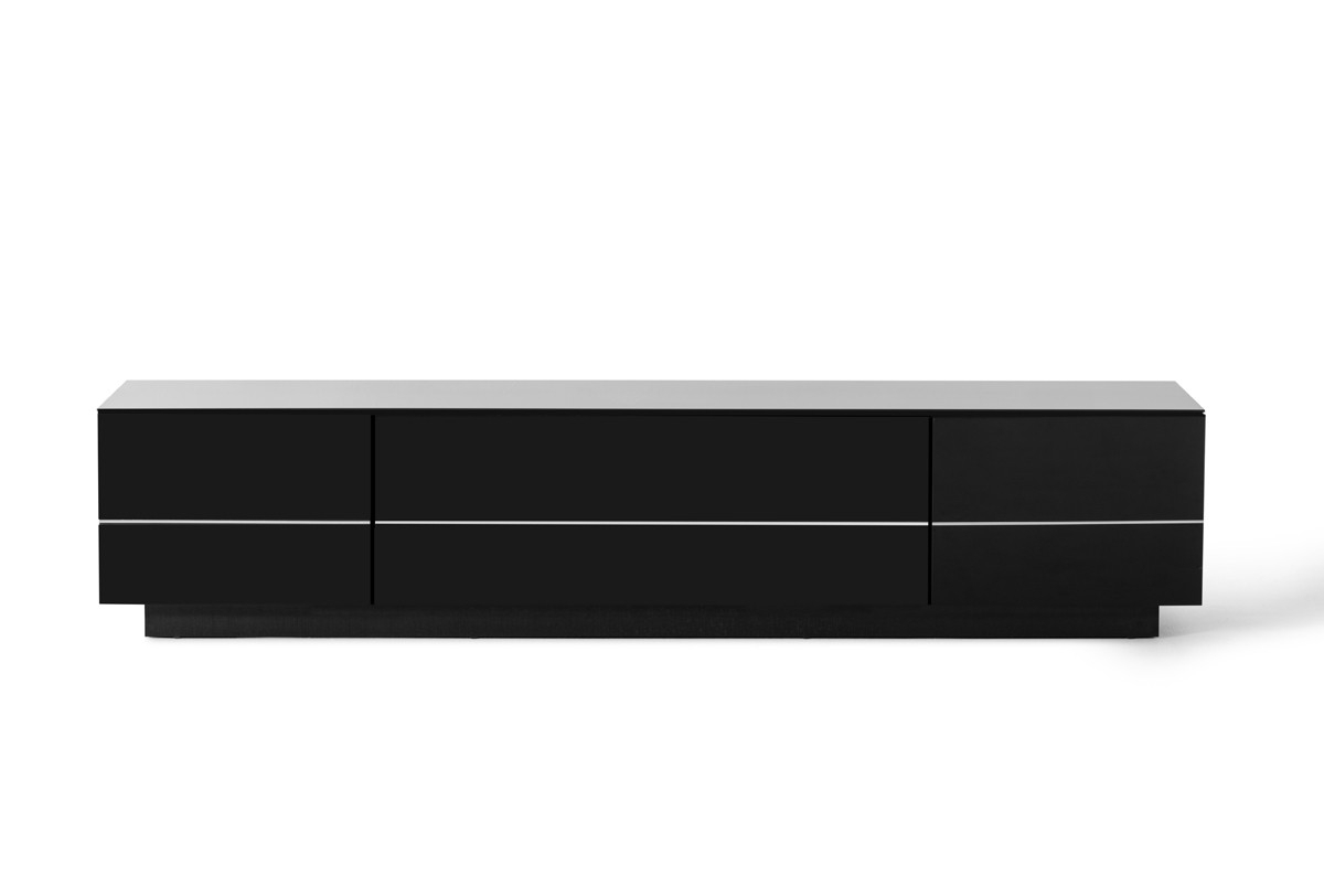 Modrest Caeden Contemporary Black High Gloss Tv Stand Inside Favorite High Gloss Tv Benches (View 12 of 20)