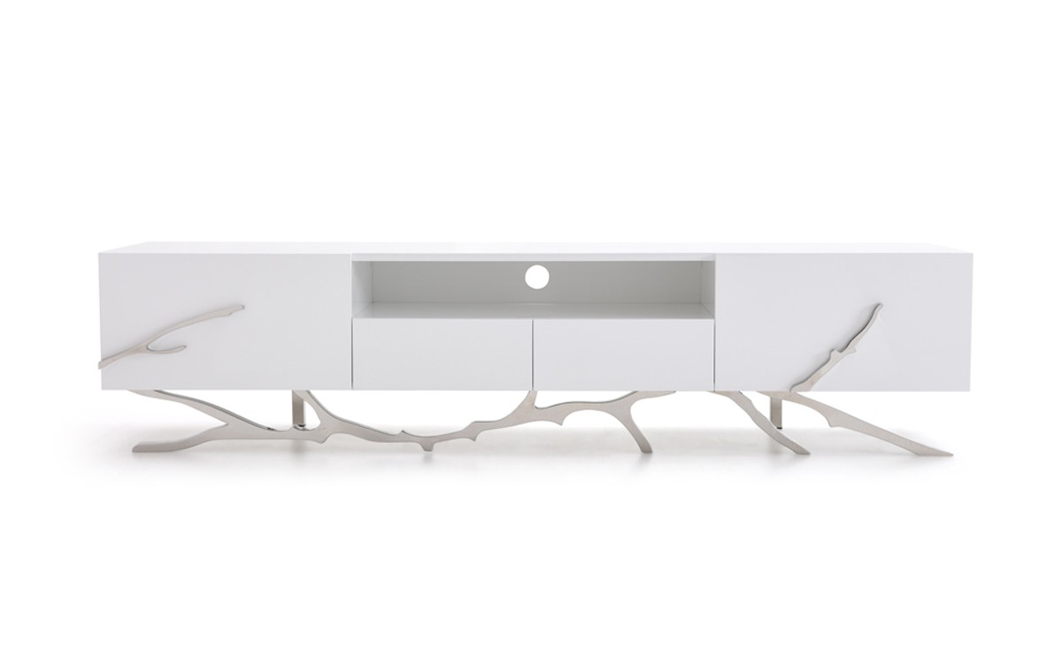 Modrest Legend Modern White Tv Stand Throughout Fashionable White Modern Tv Stands (View 8 of 20)