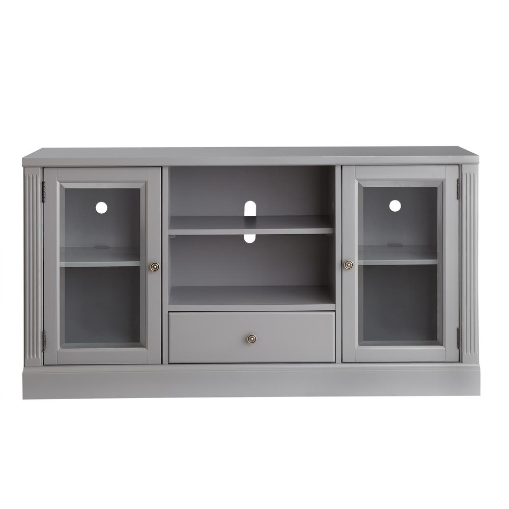 Modular Tv Stands Furniture In Preferred Edinburgh Grey Glass Door Modular Tv Stand 6335 892 – The Home Depot (View 9 of 20)