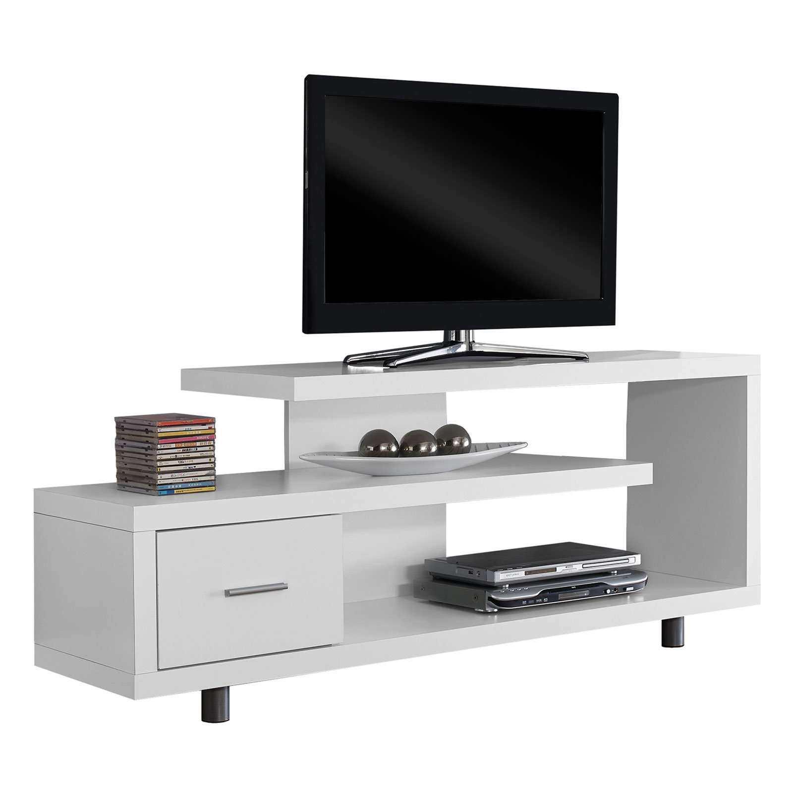"Monarch Tv Stand White With 1 Drawer For Tvs Up To 47""l – Walmart Intended For Recent Maddy 60 Inch Tv Stands (Gallery 8 of 20)"