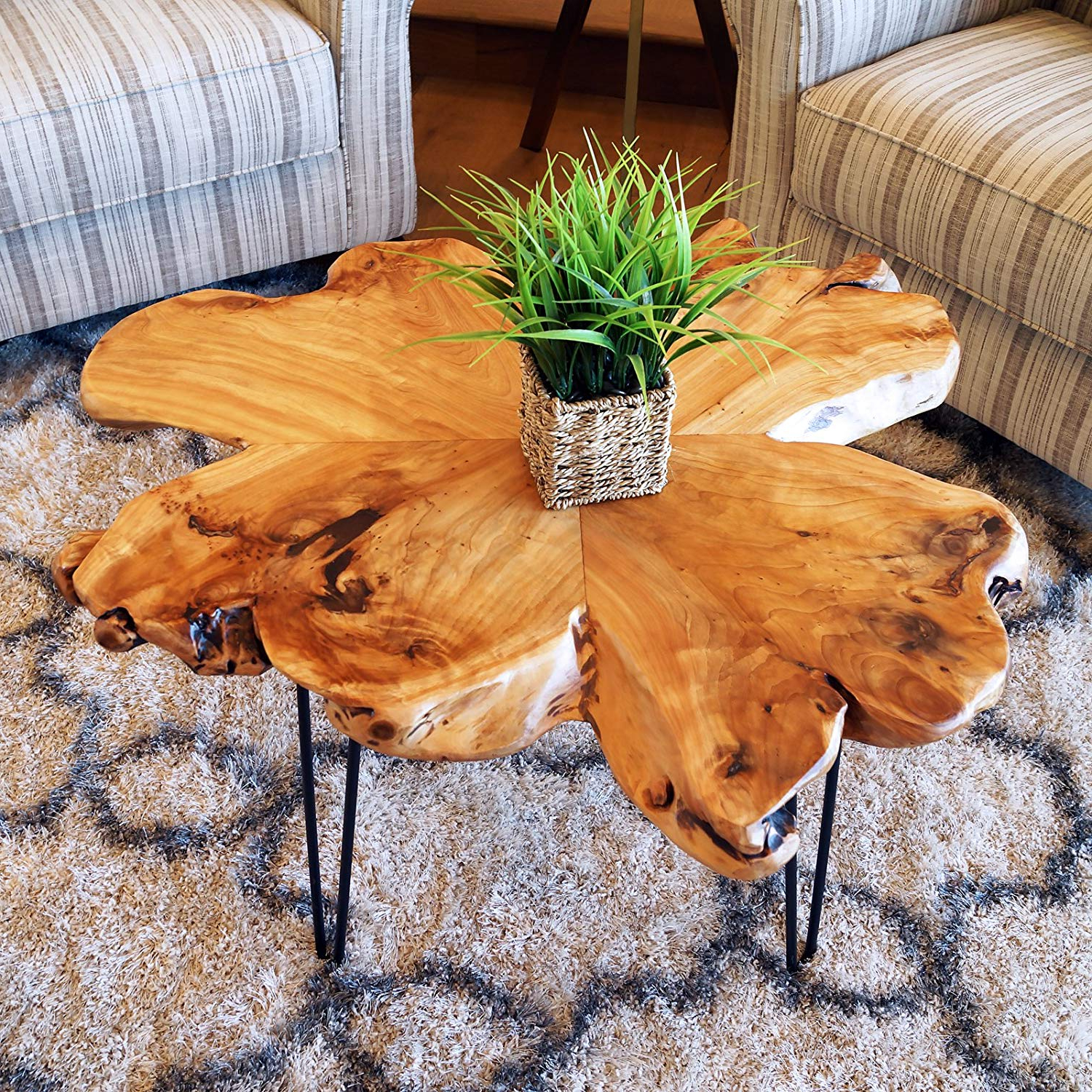 Moraga Live Edge Plasma Console Tables With Newest Amazon: Welland Live Edge Coffee Table, Wood Slab Coffee Table (View 10 of 20)