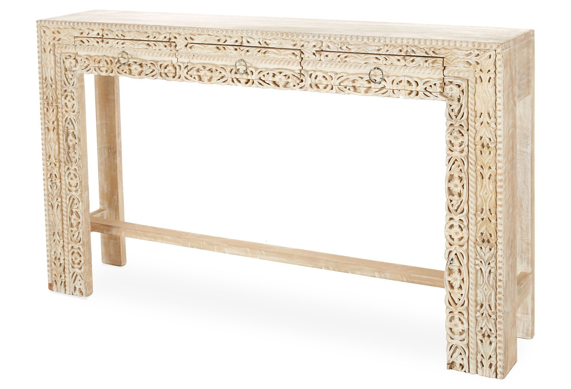 Moroccan Decor Regarding Most Up To Date Hand Carved White Wash Console Tables (View 13 of 20)