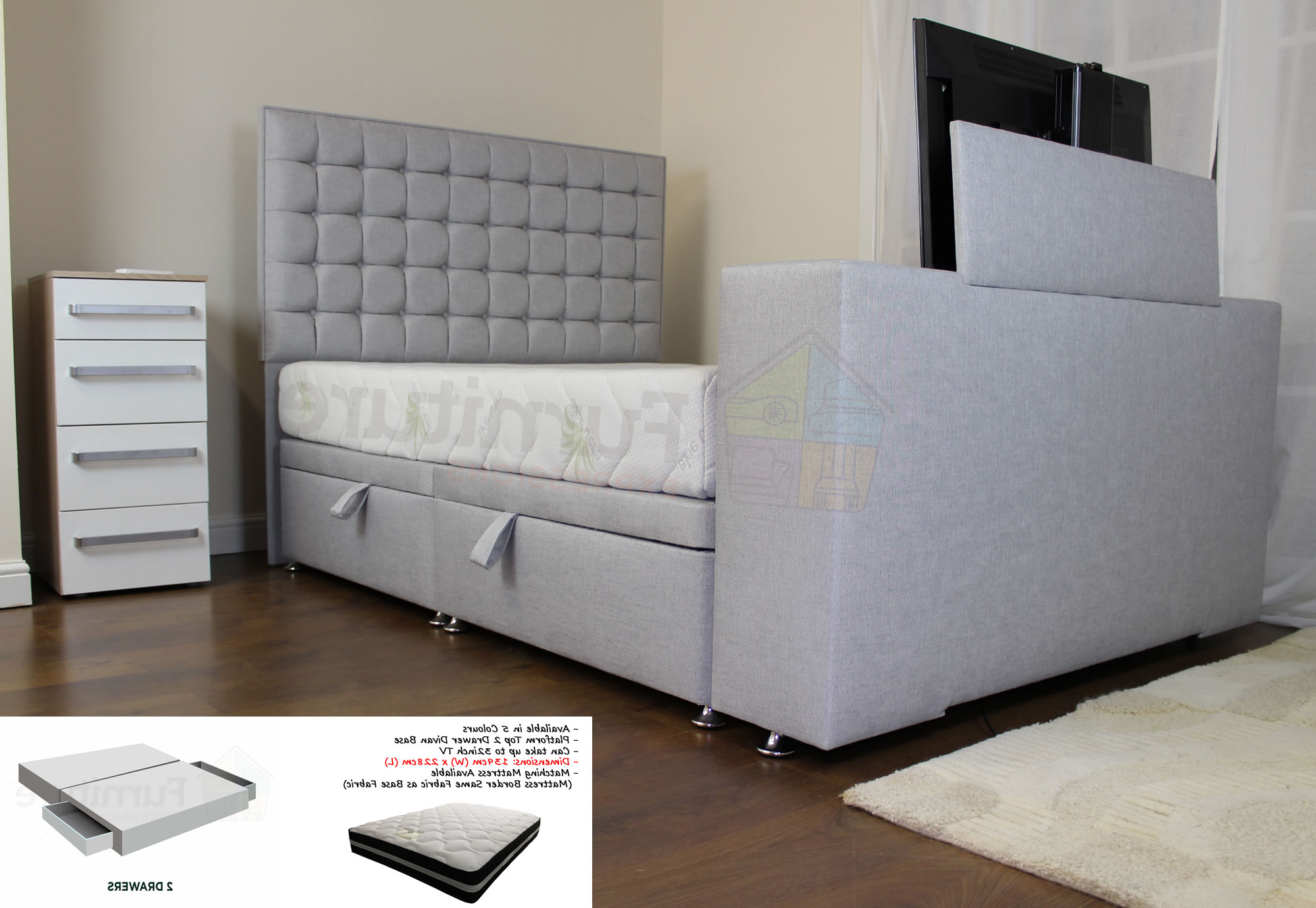 Most Current 32 Inch Tv Beds Throughout Sweet Dreams Classic Tv Bed 4Ft6 Double Continental 2+2 Divan (View 9 of 20)