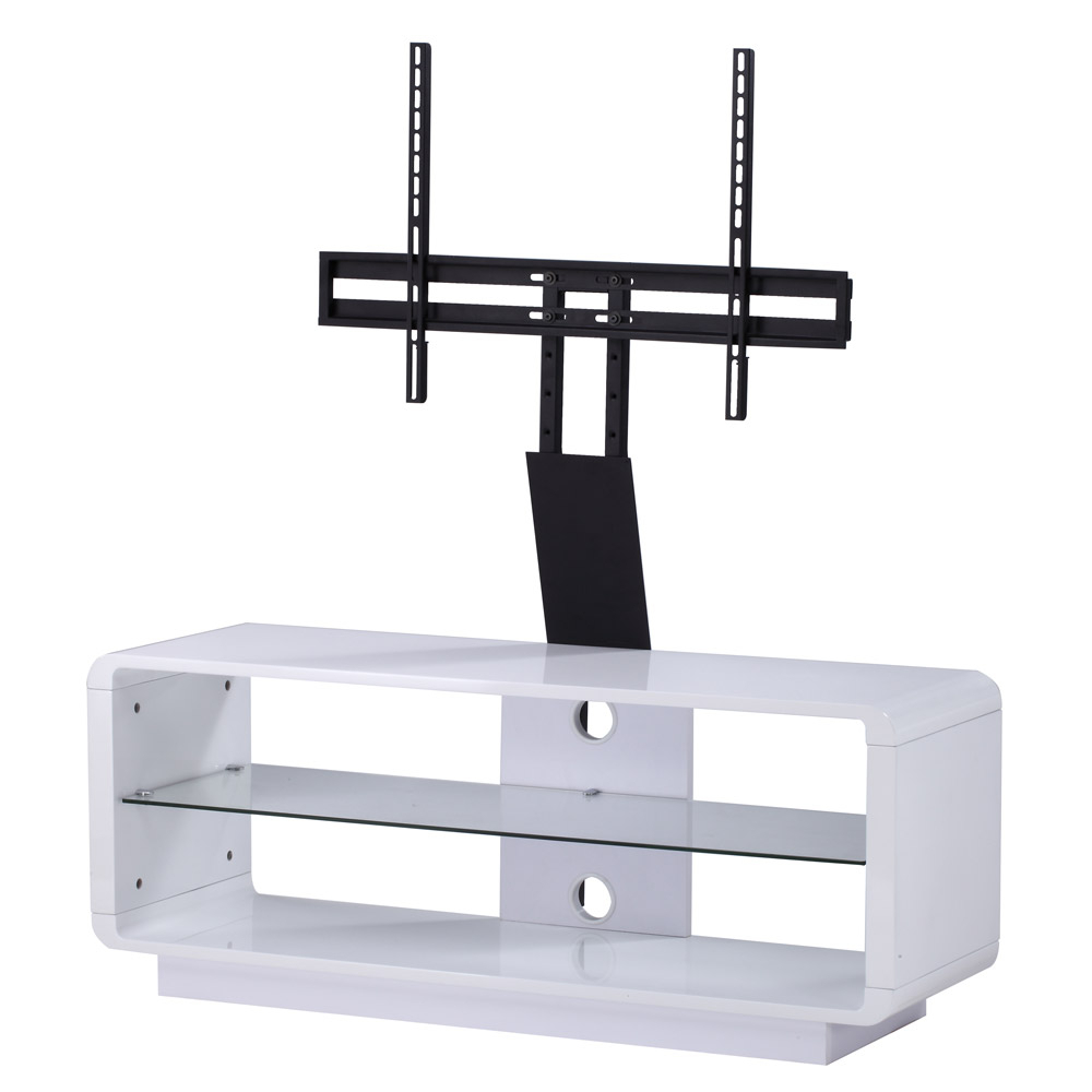 Most Current Alphason Luna Adlu1200 White Tv Stand W/ Tv Bracket – Alphason Regarding White Cantilever Tv Stands (Gallery 2 of 20)