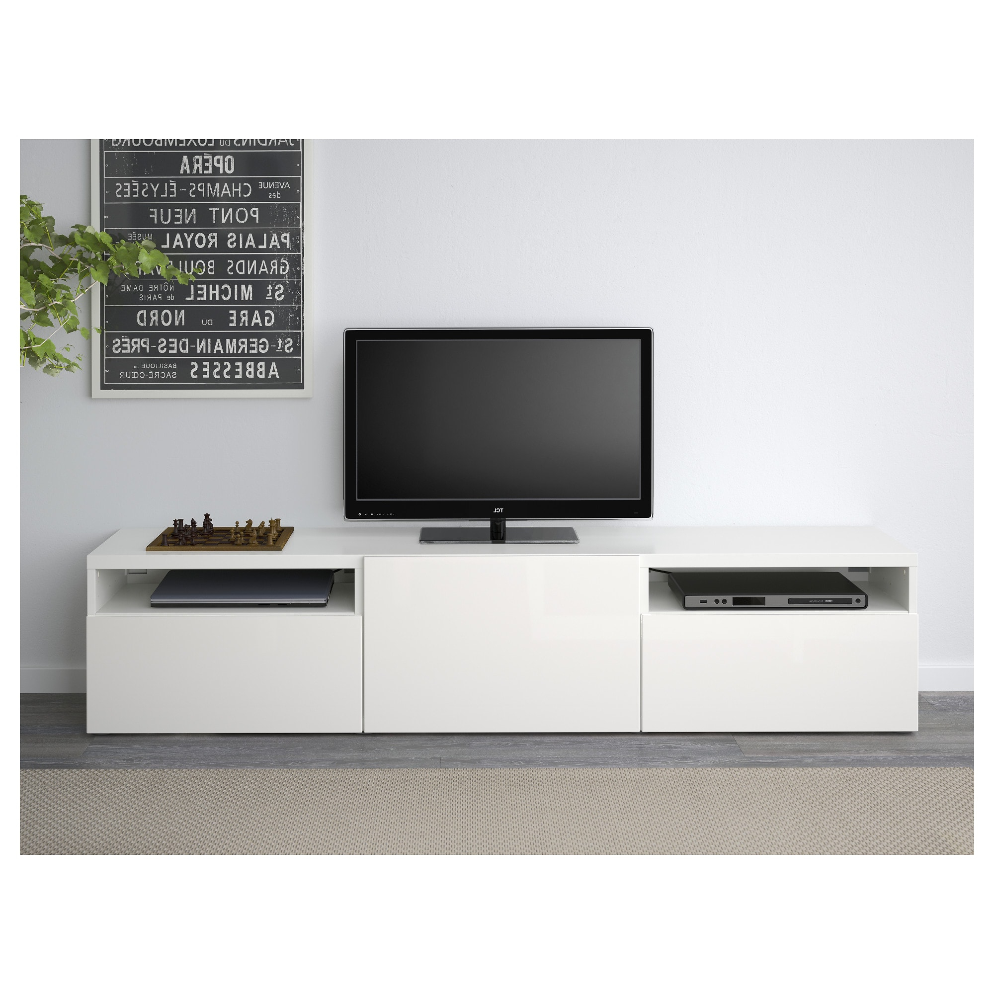 Most Current Bestå Tv Bench White/selsviken High Gloss/white 180 X 40 X 38 Cm – Ikea Inside High Gloss Tv Benches (View 10 of 20)