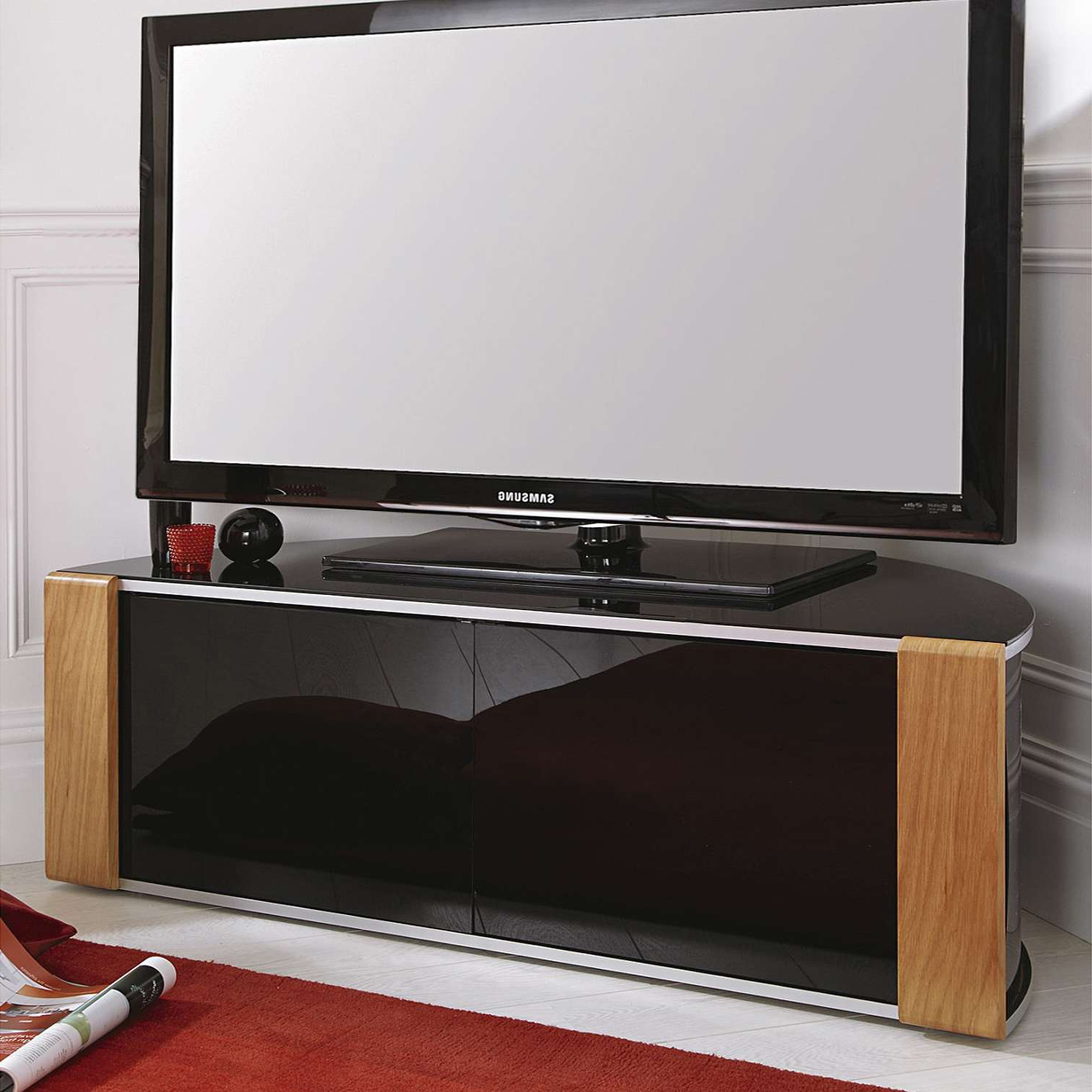 Most Current Black Corner Tv Cabinets With Glass Doors Within Furniture: Interesting Corner Media Cabinet For Entertaining Room Tv (View 15 of 20)