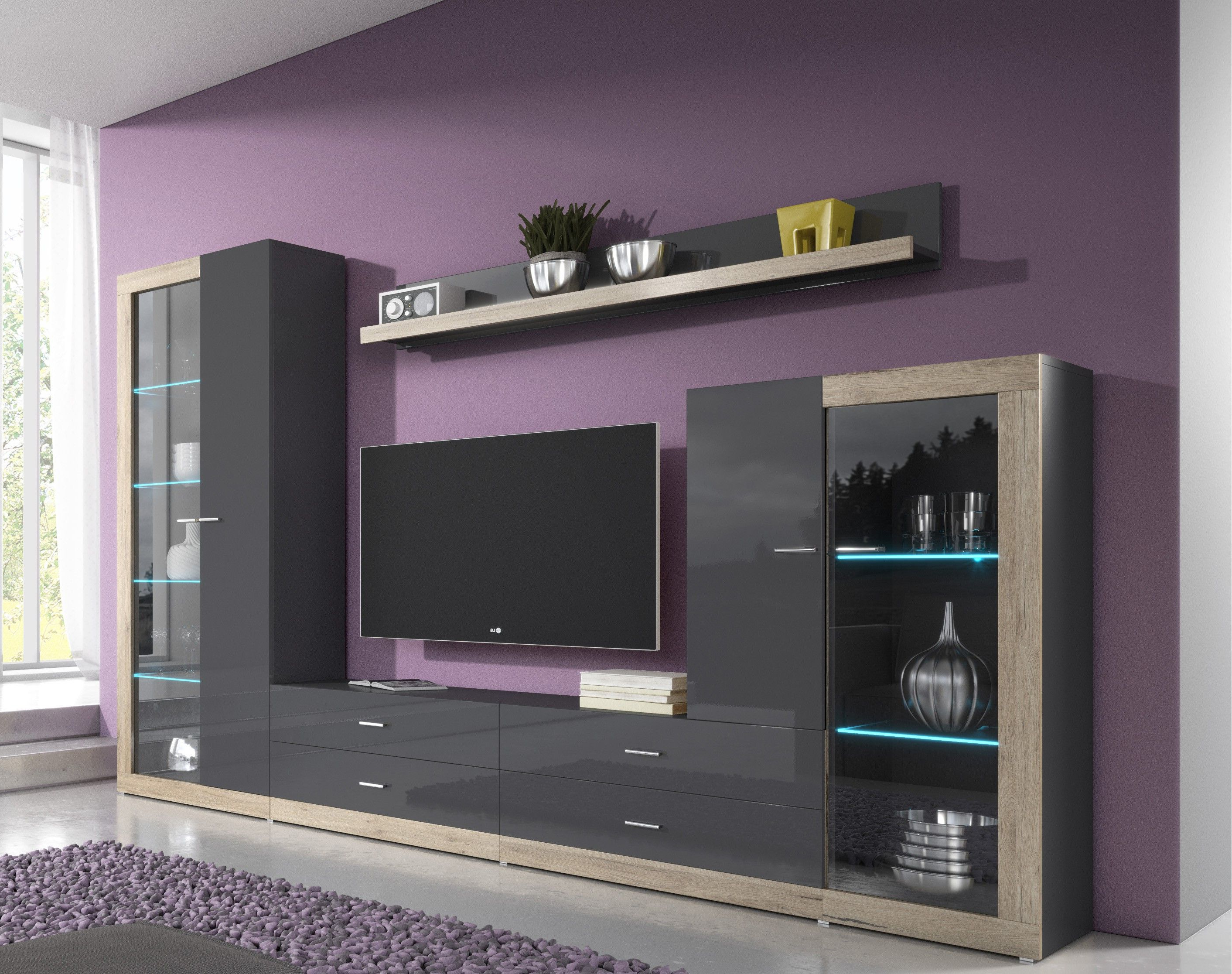 Most Current Black Gloss Tv Wall Units With Entertainment Wall Units (View 4 of 20)