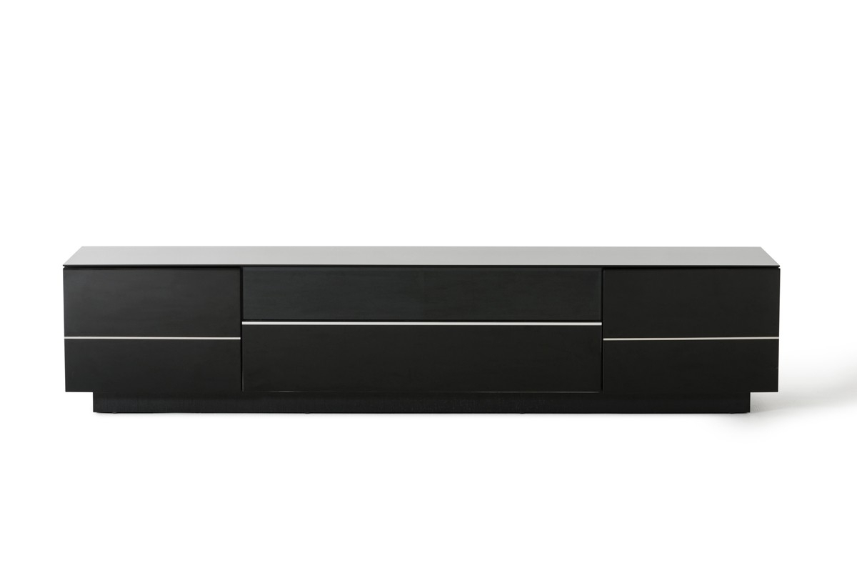 Most Current Caeden Contemporary Black High Gloss Tv Stand (View 4 of 20)