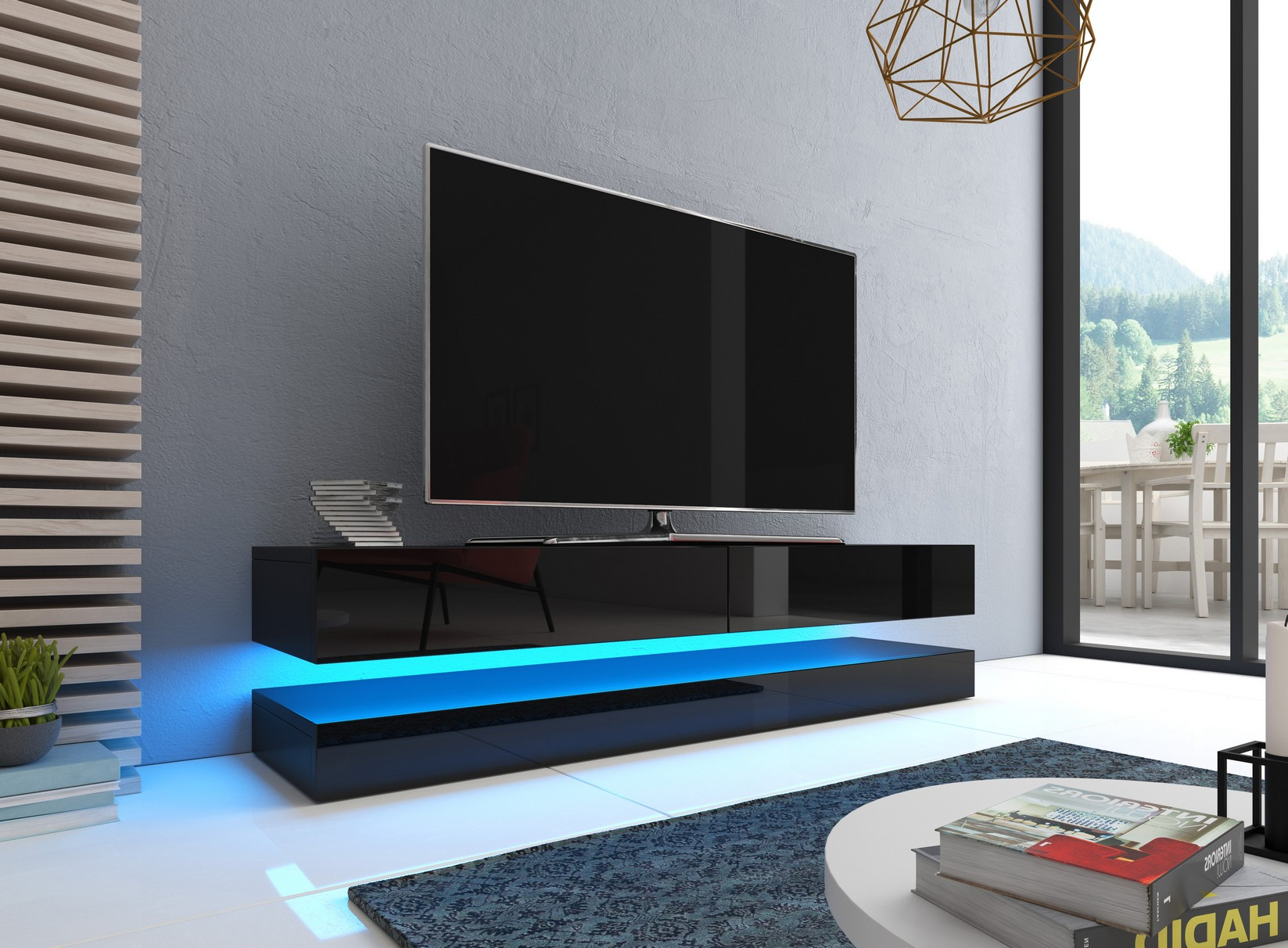 Most Current Caspian Flow 140Cm Led Floating 2 Drawer Gloss Tv Cabinet Unit In White Gloss Tv Cabinets (View 8 of 20)