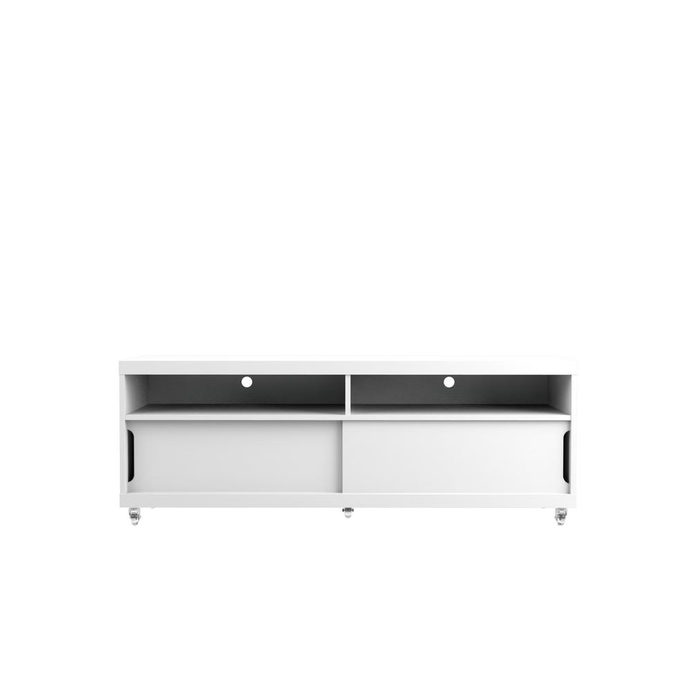 Most Current Cream Gloss Tv Stands Within Manhattan Comfort Batavia White Gloss And Maple Cream Entertainment (View 11 of 20)