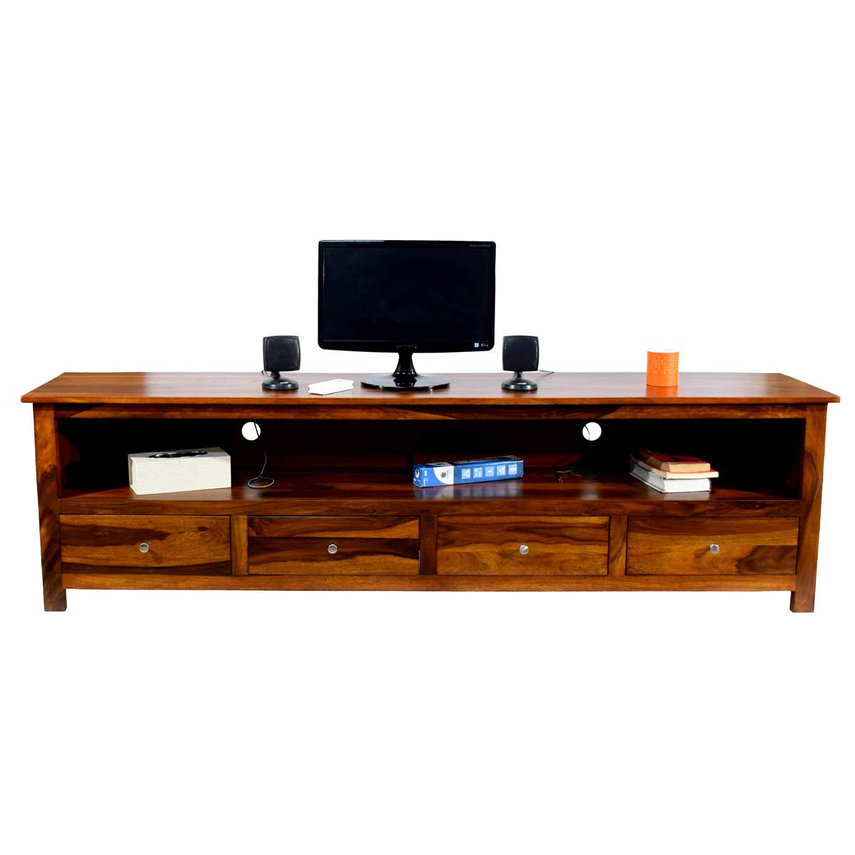 Most Current Daintree Sheesham Wood 1.96 Meter Dolly 4 Draw Tv Unit Cabinet Regarding Daintree Tv Stands (Gallery 8 of 20)
