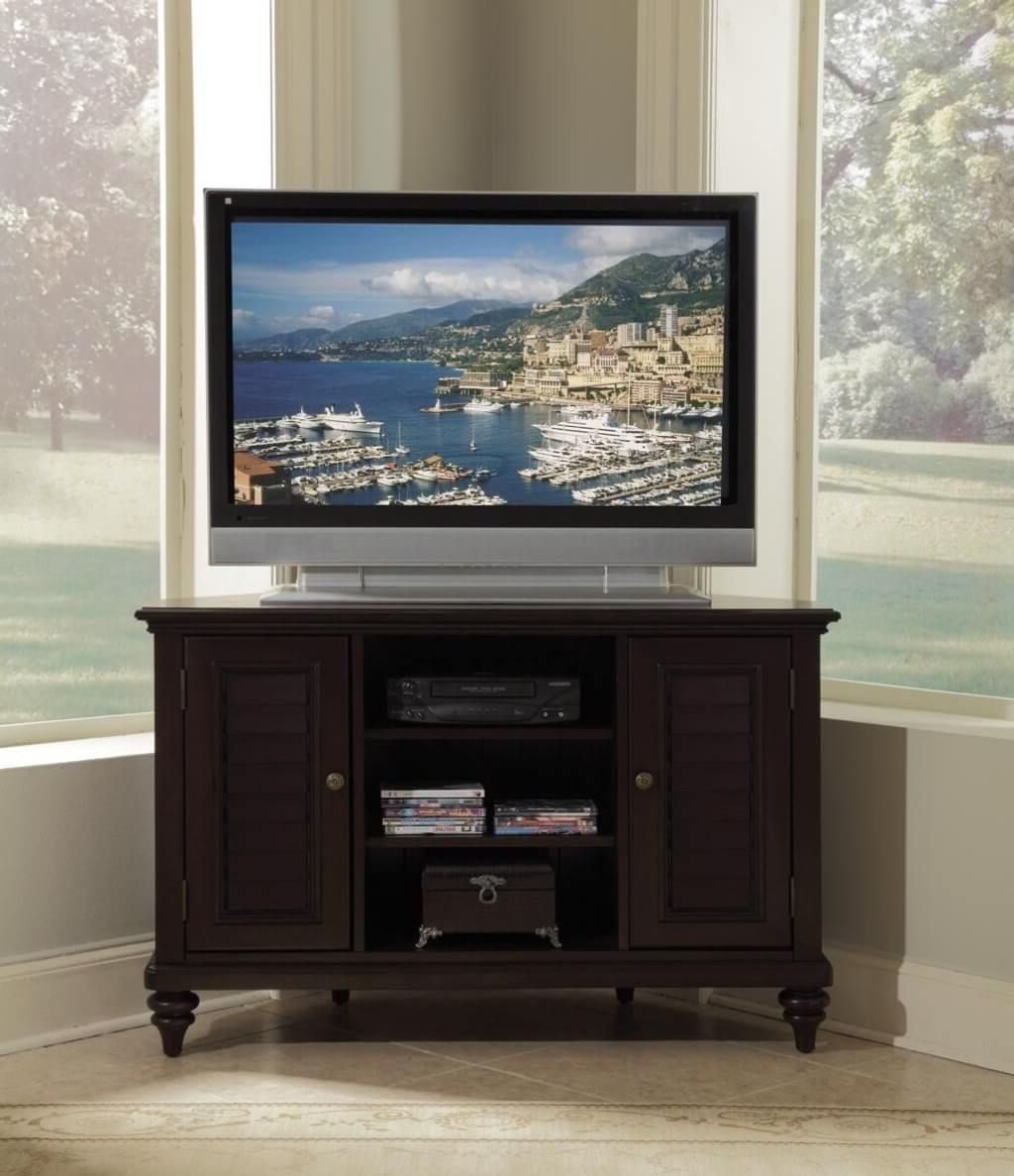 Most Current Dark Brown Corner Tv Stands Intended For Furniture: Dark Brown Corner Tv Stand With Double Shutter Door (View 4 of 20)