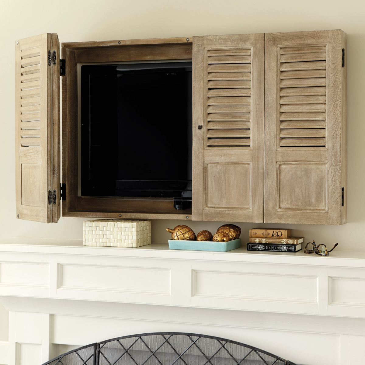 Most Current Disguise The Tv With A Shutter Tv Wall Cabinet – I Bet We Could Make Inside Tv Wall Cabinets (View 16 of 20)