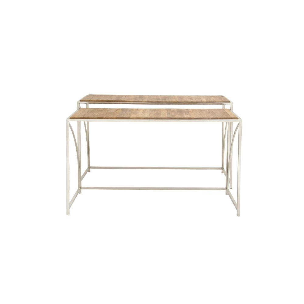 Most Current Frame Console Tables In Litton Lane Oak Brown Slat Design Rectangular Console Tables With (View 16 of 20)