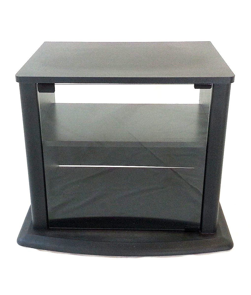 Most Current Glass Front Tv Stands Within Small Black Tv Stand With Glass Front (used) – Doctor Deals (View 18 of 20)