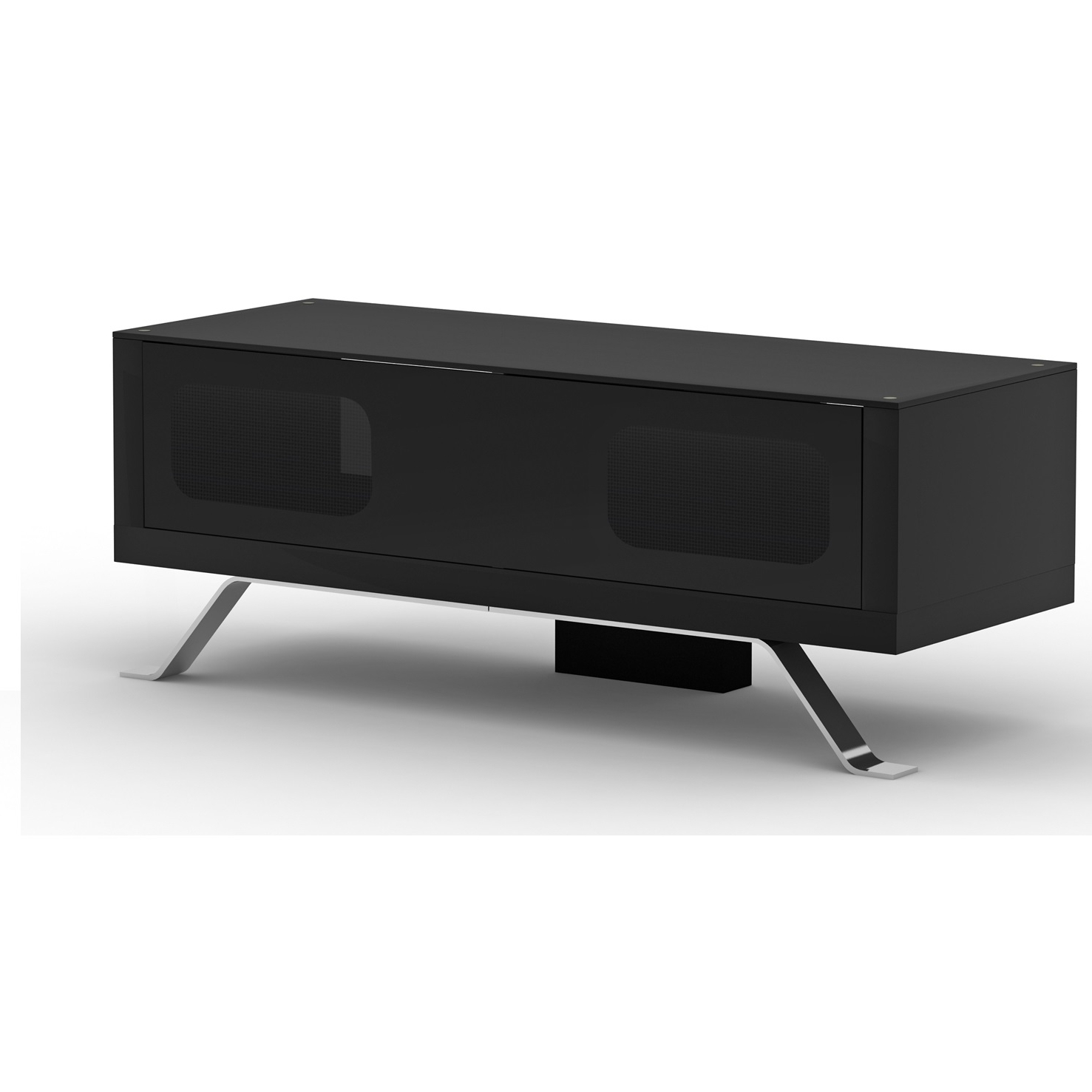 Most Current Glass Tv Cabinets Inside Arcadia Black Tv Cabinet With Gltop 20518 Furniture In Stand (View 11 of 20)