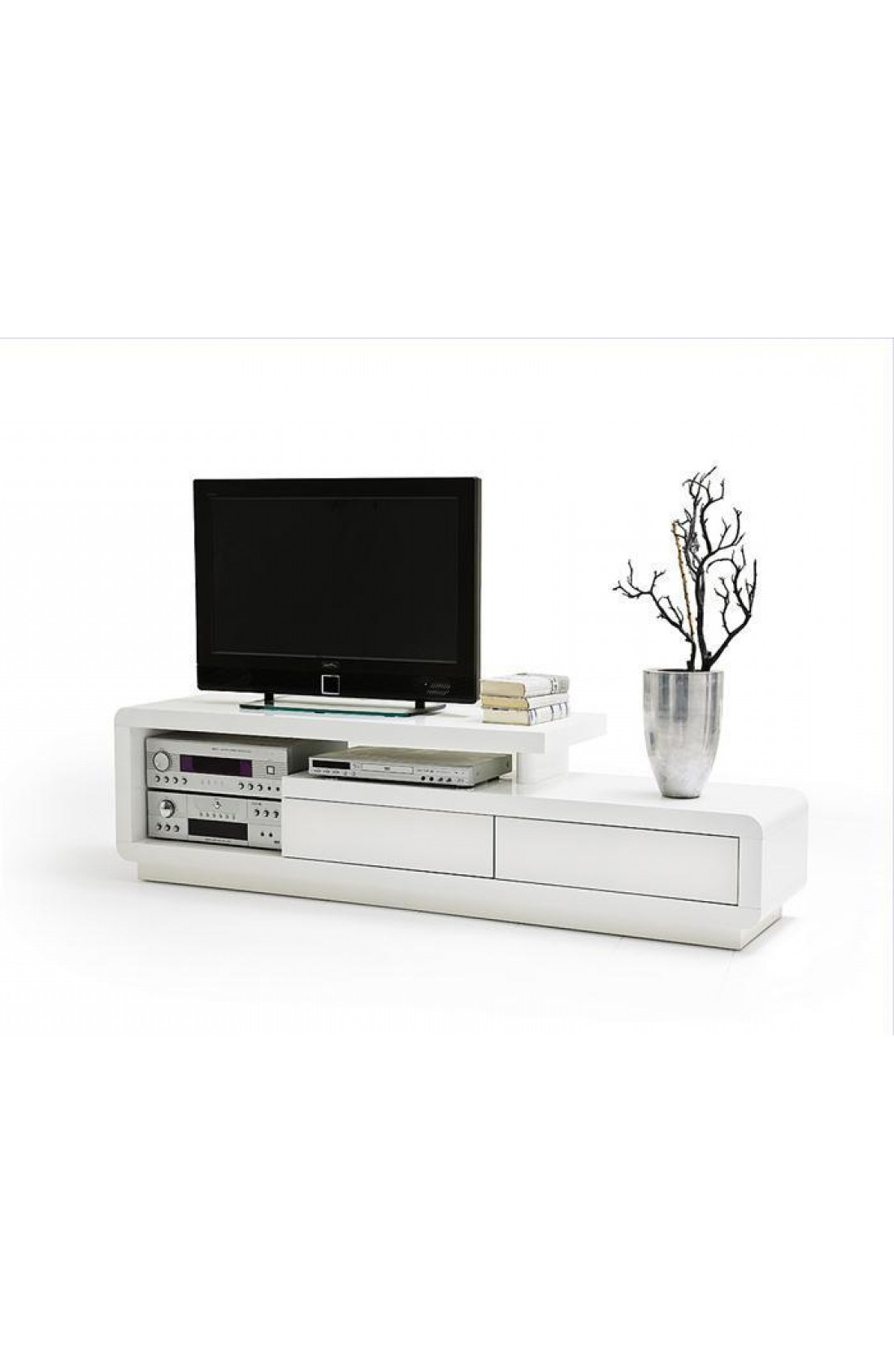 Most Current Gloss Tv Stands Regarding Modanuvo White Gloss Tv Unit Cabinet With Drawers (View 9 of 20)
