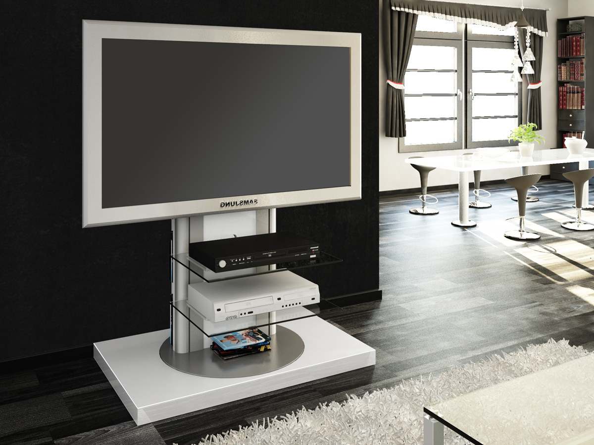 Most Current Gloss White Tv Cabinets Within Roma White Swivel High Gloss Tv Stand (View 10 of 20)