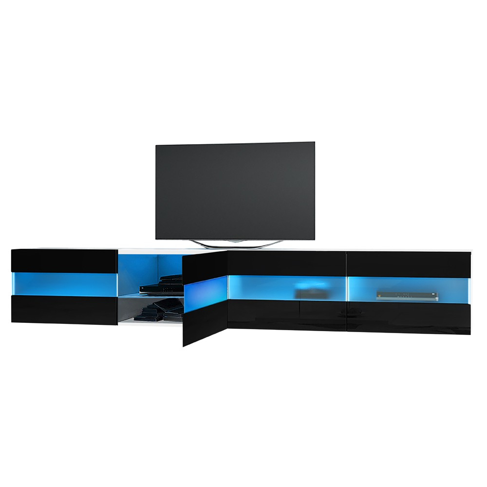 "Most Current High Gloss Tv Benches With Maddox Floating White/black Gloss Tv Unit 200Cm Tv Up To 70"" (View 13 of 20)"