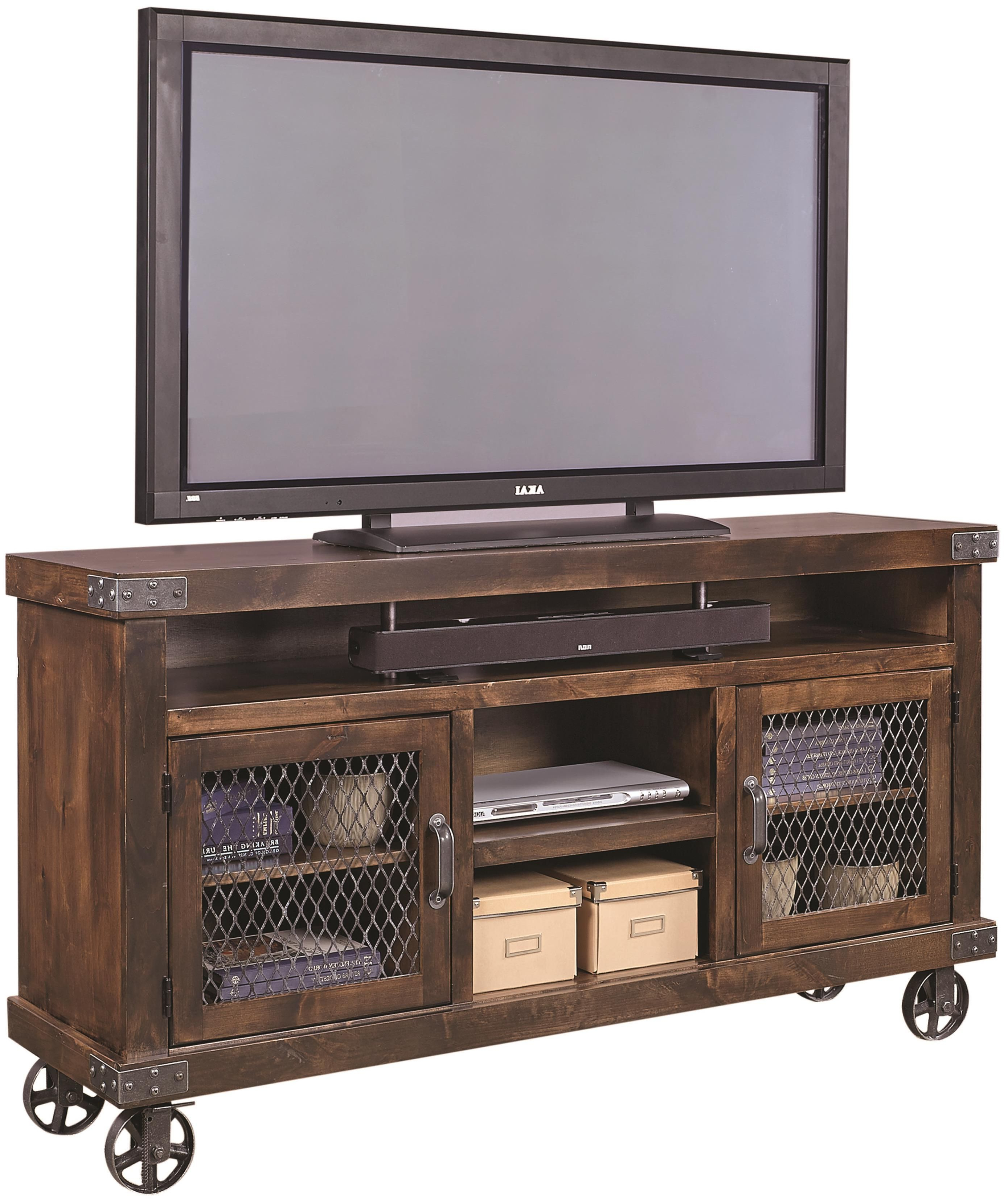 "Most Current Industrial 65"" Console With Metal Castersaspenhome In 2019 Inside Wooden Tv Stand With Wheels (View 8 of 20)"