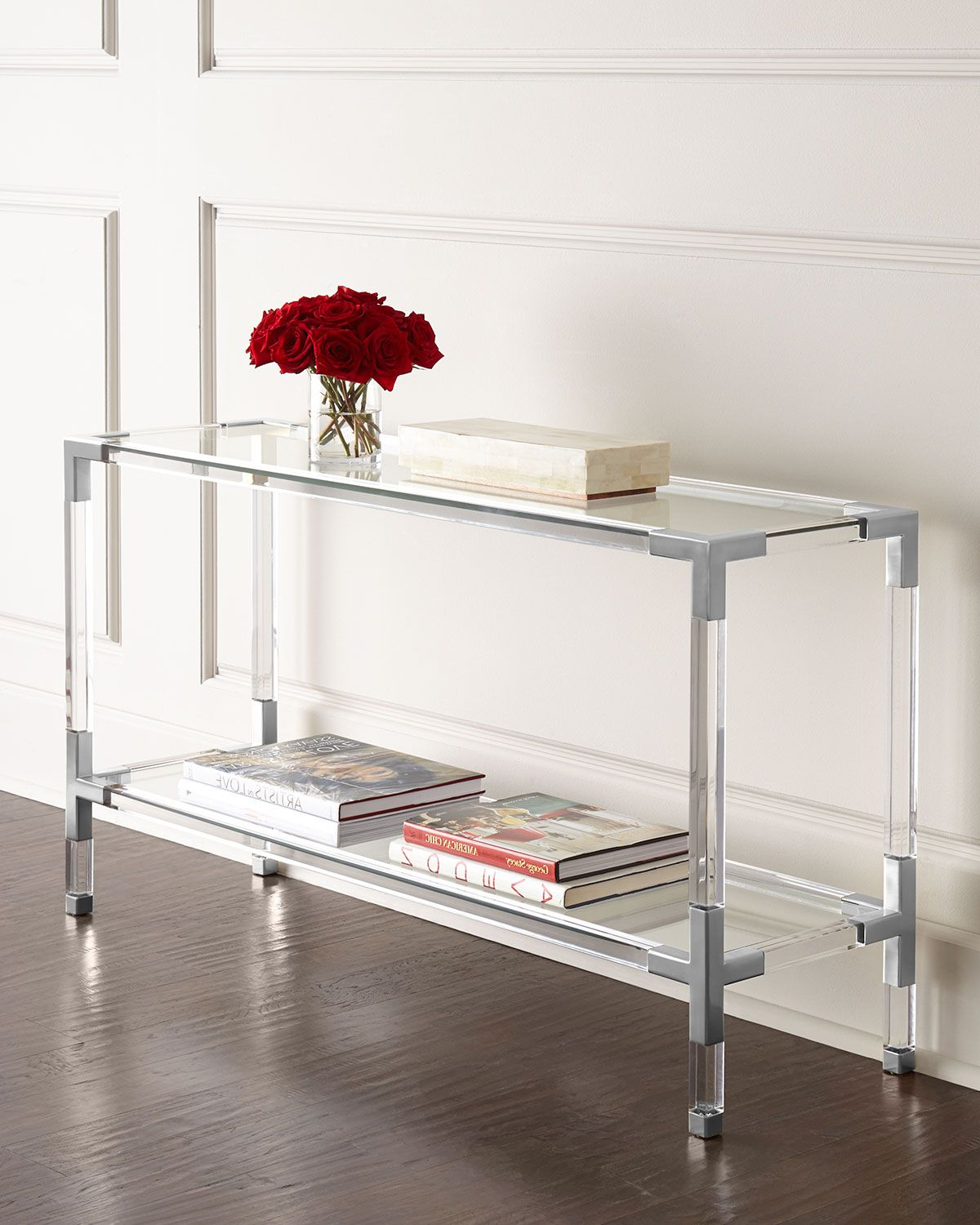 Most Current Jacque Console Tables With Jacques Acrylic & Nickel Console (View 14 of 20)
