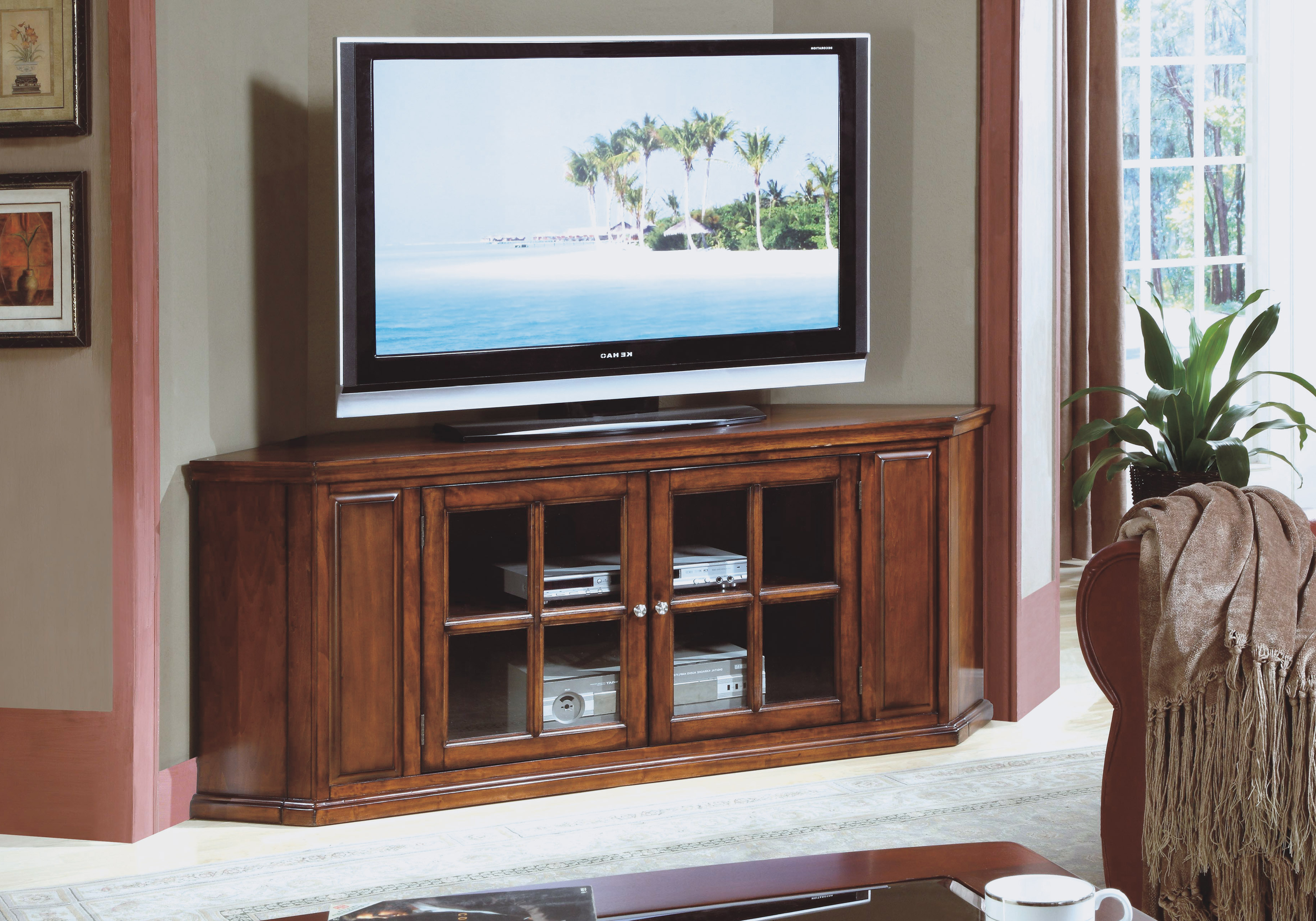 Most Current Large Corner Tv Stands Regarding Oak Tv Stand Walmart Solid Wood Stands For Flat Screens Light (View 12 of 20)