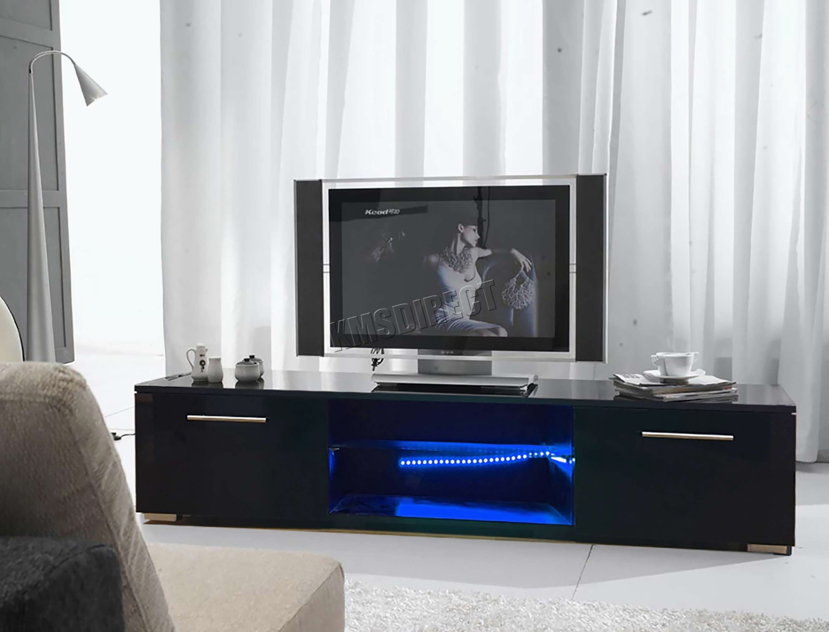 Most Current Light Oak Tv Stands Flat Screen Peaceful Best 15 Of With Led Lights Regarding Oak Tv Stands For Flat Screens (View 8 of 20)