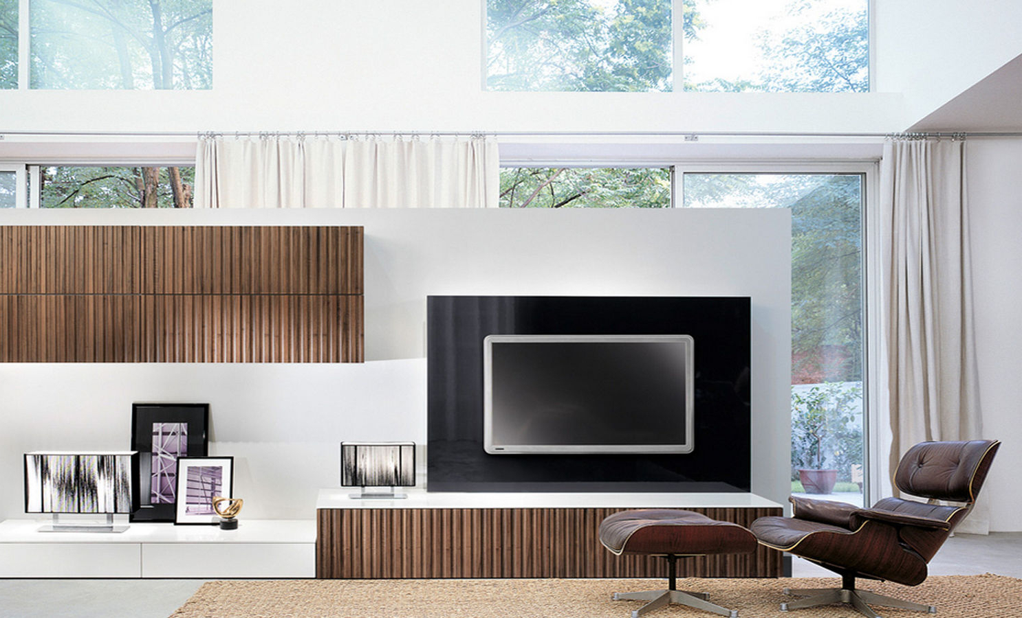 Most Current Modern Design Tv Cabinets Pertaining To Open Air Spacious Room With White Divider Combine Blonde Wooden Wall (Gallery 11 of 20)