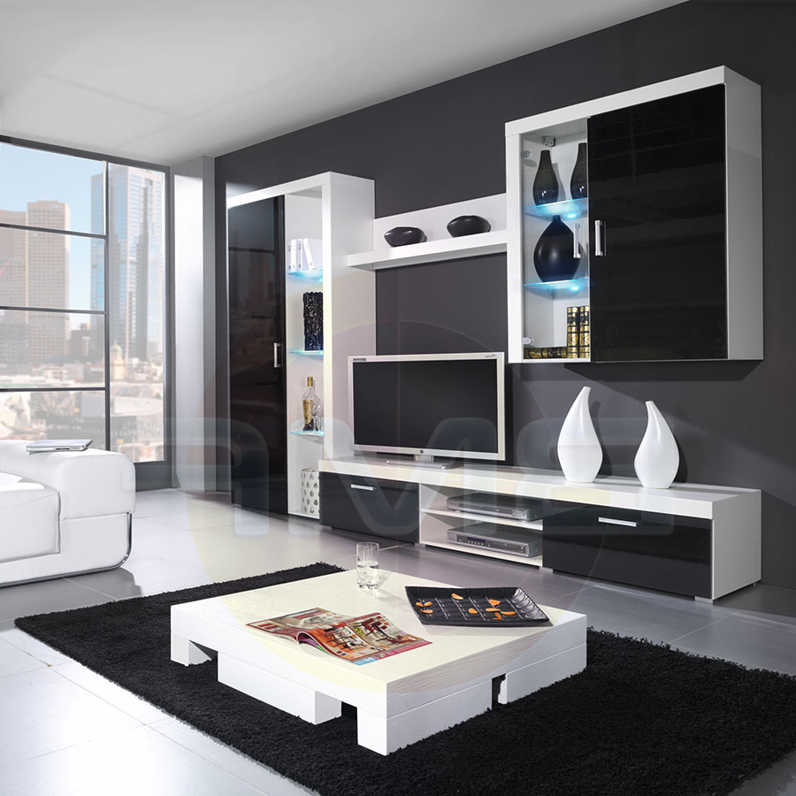 Most Current Modern Wall Unit Display Living Room High Gloss Led Furniture Set For Black Gloss Tv Wall Unit (View 14 of 20)