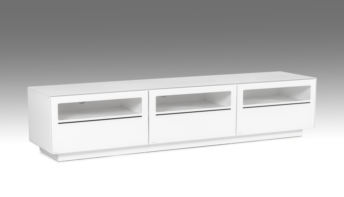 Most Current Modern White Tv Stands Regarding Modrest Landon Contemporary White Tv Stand (View 12 of 20)