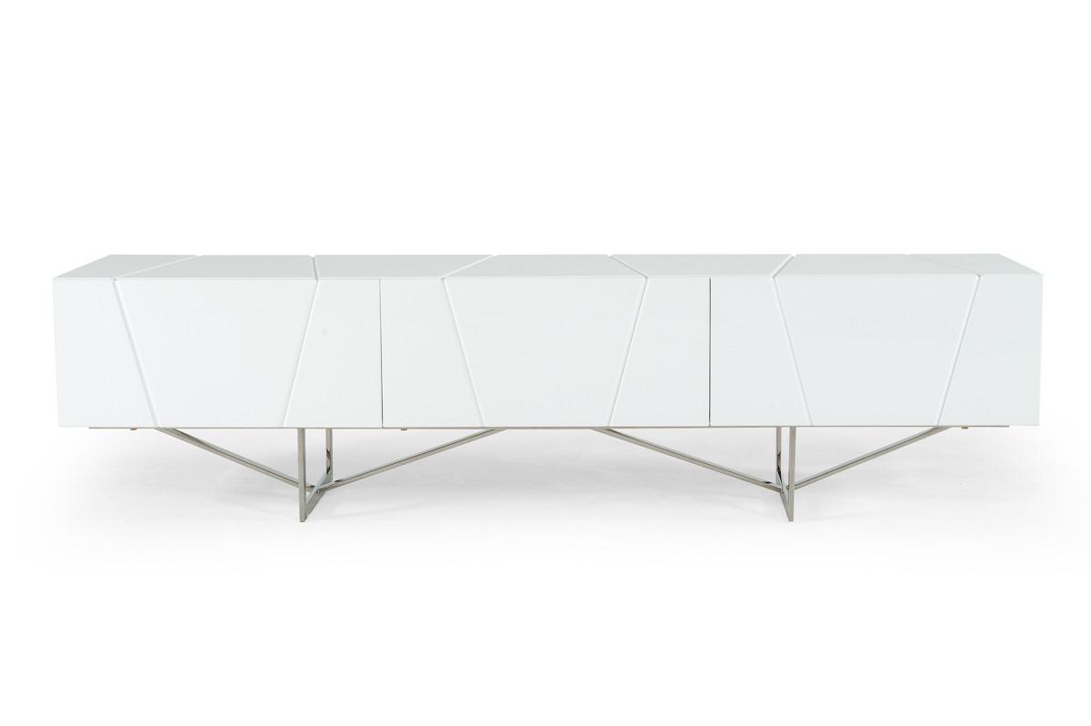 Most Current Modrest Chrysler Modern White Tv Stand Regarding Modern White Tv Stands (View 12 of 20)