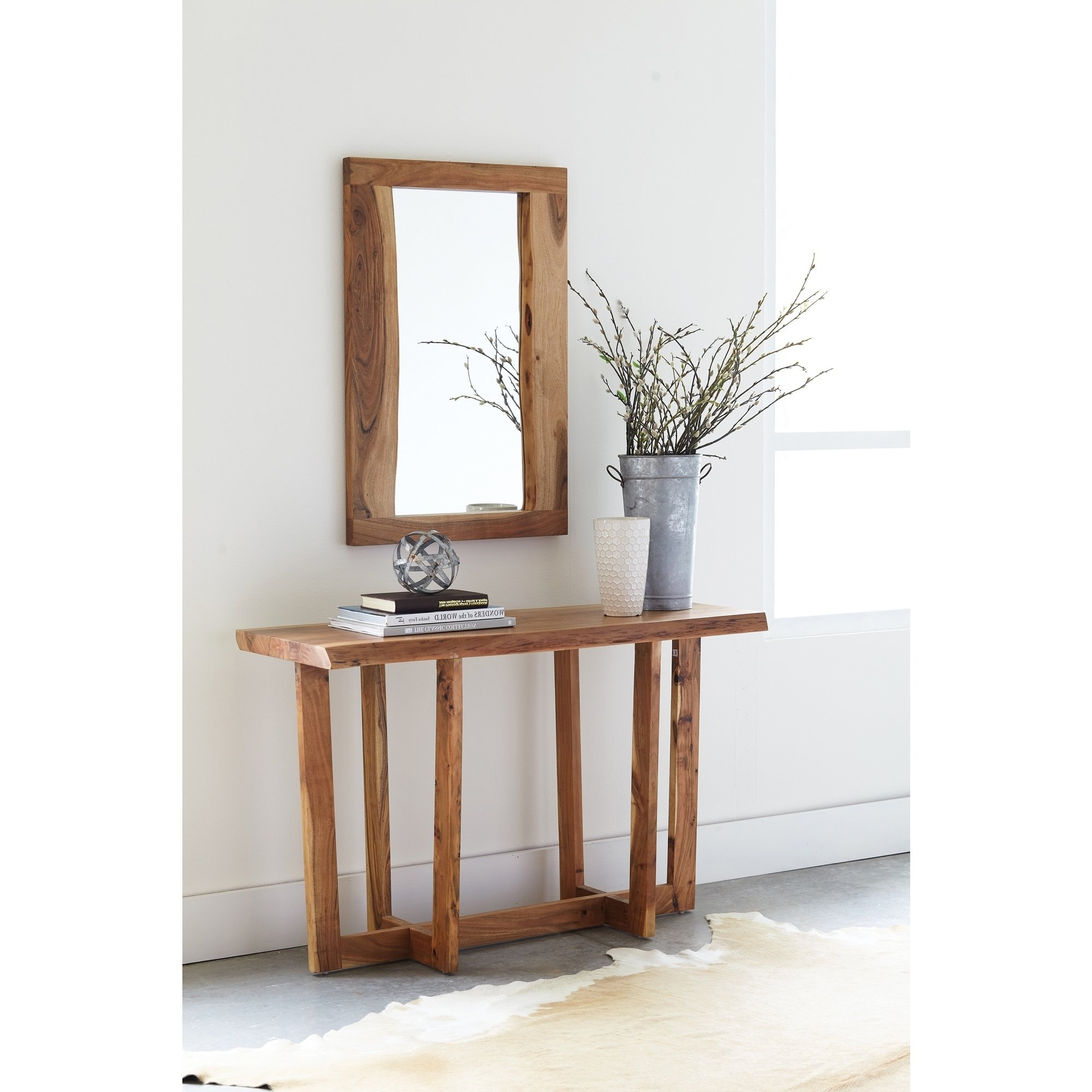 Most Current Natural Wood Mirrored Media Console Tables Pertaining To Shop Berkshire Natural Live Edge Wood Media Console Table, Natural (Gallery 14 of 20)