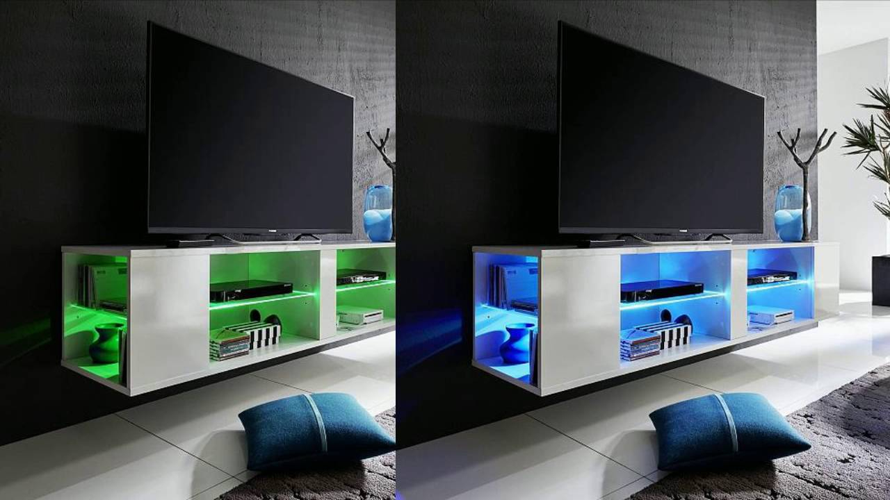 Most Current Neomi Lcd Tv Stand In White High Gloss Fronts With Led Light – Youtube With Regard To Tv Stands With Led Lights (View 5 of 20)