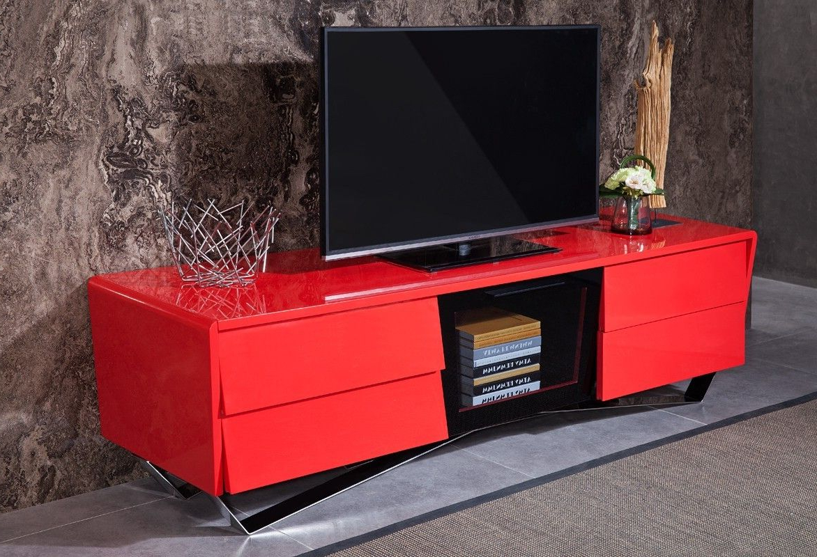 Most Current Red Modern Tv Stands Pertaining To Vig Furniture – Modrest Max Modern Red Tv Stand – Vgwctv G02 Red (View 4 of 20)