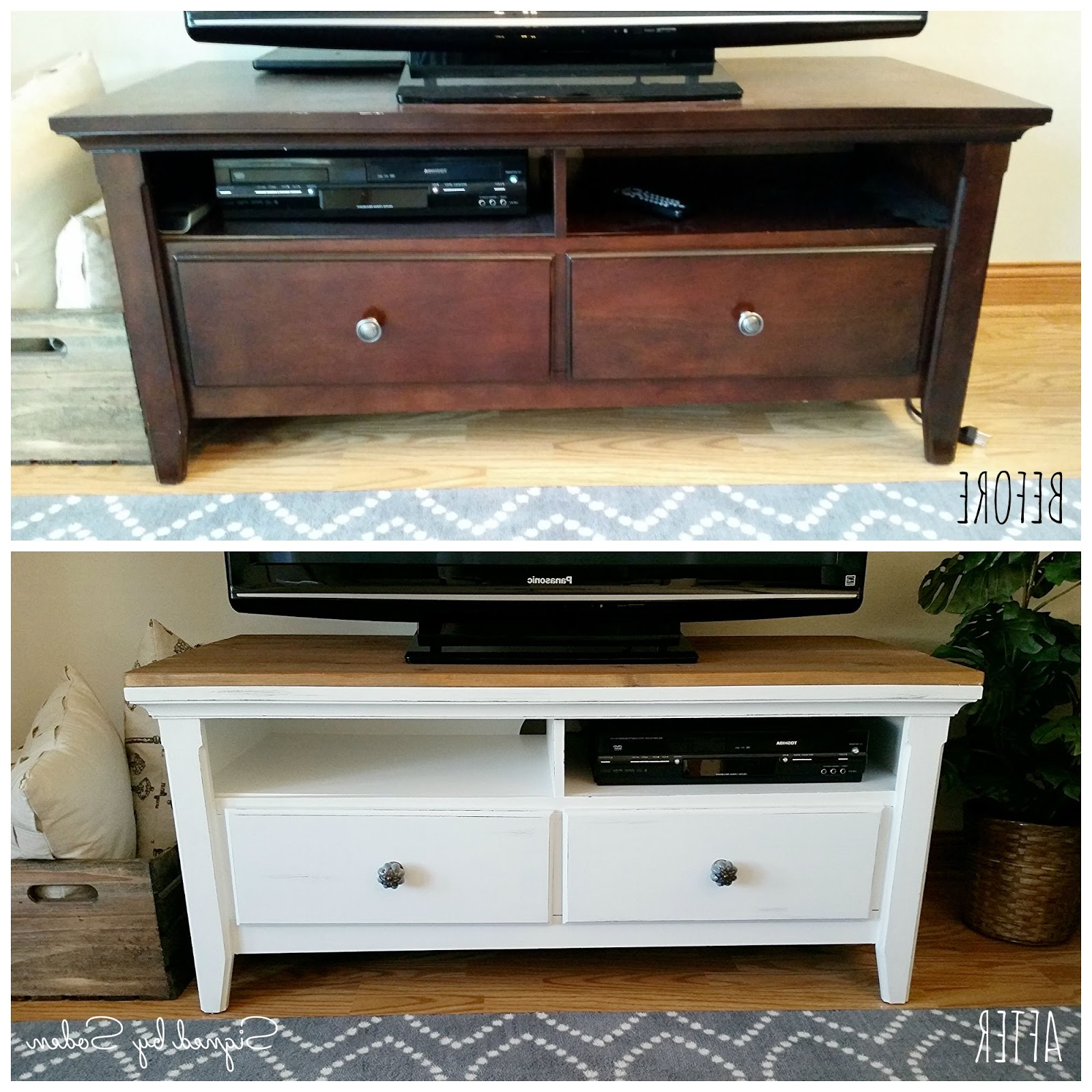 Most Current Rustic Coffee Table And Tv Stand With Regard To Diy: Rustic Coffee Table And Tv Stand Makeover – Signedsoden (View 6 of 20)