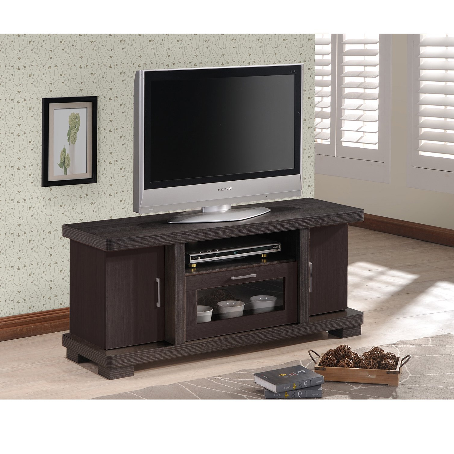 Most Current Shop Porch & Den Kittery Contemporary 47 Inch Dark Brown Wood Tv Regarding Contemporary Tv Cabinets For Flat Screens (View 14 of 20)