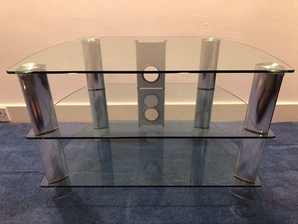 Most Current Silver Corner Tv Stands For John Lewis Glass / Brushed Silver Corner Tv Stand (View 8 of 20)